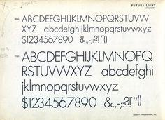 Futura Light was part of the original Futura family released in 1928. #futura #type #specimen #typography