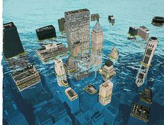 ALEX LUKAS #water #city #illustration #under #buildings