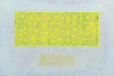 flourescent+yellow+tri+grid+copy.jpg (image) #abstract #bina #dan #grid #triangles #painting #art #canvas
