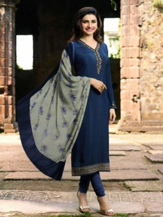Bollywood Diva Prachi Desai Navy Blue Crepe Embroidered Straight Cut Suit Online at Best Price.