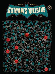 Pop Chart Lab --> Design + Data = Delight --> The Myriad Monikers of Gotham's Villains 2.0 #enemies #dc #gotham #batman #illustration #villains #comics #web