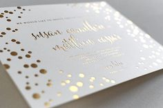 #Gold Foil #Letterpress #Wedding #Invitation printed by Elegante Press
