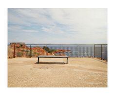 Graffiti, bench, railings, view, sea, holiday, landscape