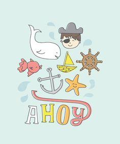 Ahoy! Art Print #whale #sea #boat #poster #nautical