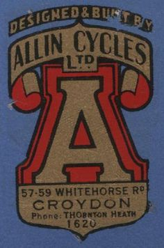 Allin Cycles Ltd #logo #vintage #bike