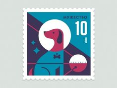 Dribbble - Space Animal Stamp Series - Laika by Eric R. Mortensen #illustration #letterpress #dog #stamp
