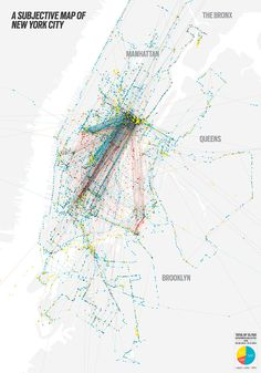 Subjective Map of New York City #movements #city #map #data #visualization #processing #nyc #york #new