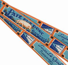 3pcs FRENCH PATE LABELS 1930s Antique Pork Pate