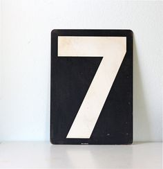 Vintage Large Number Sign 7 or 2