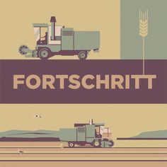 Illustration by Alex Hermann #illustration #grain #corn #field #harvester