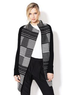 Virtuoso Graphic Coat by M. Patmos at Gilt #pattern #white #black #and #fashion