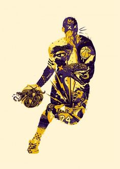 Black Mamba - Kobe Bryant Illustration #kobe #basketball #sports #snake #collage #crown #winning #ball #bolt #portrait #screenprint #sneaker