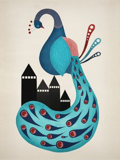 Michelle Carlslund Illustration: Peacock #nordic #city #peacock #danish #feather #bird #beautiful #feathers #illustration #elegant #blue #animal
