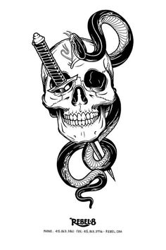 Rebel 8 #snake #tattoo #skull #knife #dagger