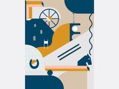 caroline bergsten, poster, graphic design, flat, illustration, collage, ski, horse, colors, abstract, landscape