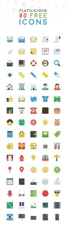 Flatilicious : 80 Free Delicious Flat Icons