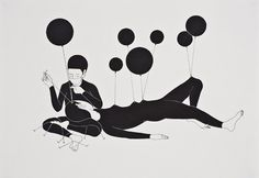Daehyun Kim #balloon #illustration #white #black