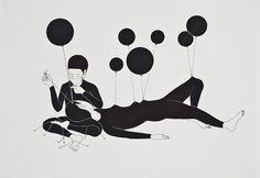 Daehyun Kim #balloon #illustration #white #black