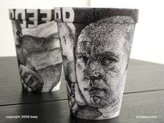 CJWHO ™ (Amazingly Detailed Illustrations Drawn on Foam...) #design #illustration #art #drawn #cheeming boey #foam coffee cups