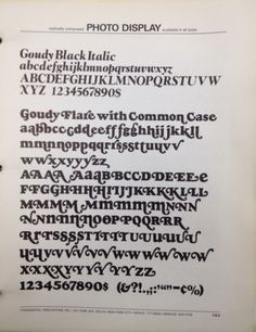 Daily Type Specimen | Goudy Black with unicase letters and swashes. A... #typography