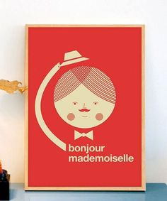 Bonjour poster #circle #mademoiselle #red #print #mustache #bonjour #hat #poster #hello #man