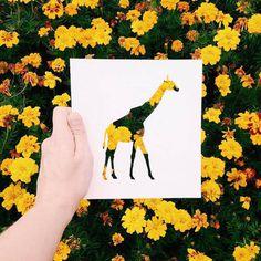 cut out animal giraf flower
