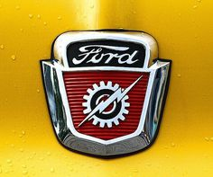 Chromeography: chrome badges, emblems, logos on cars, cameras, appliances #lettering #ford #automobile #yellow #cars #chrome #emblem #typography