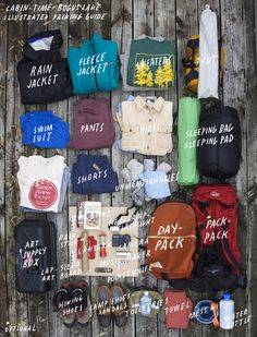 packingguide #clothing #packing #top #camping #wood #handwritten #view