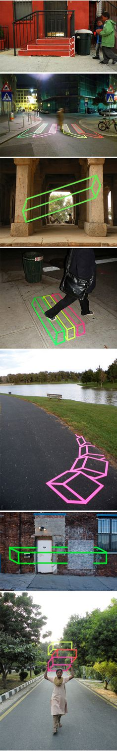Aakash Nihalani #brooklyn #tape #street #graffiti #neon