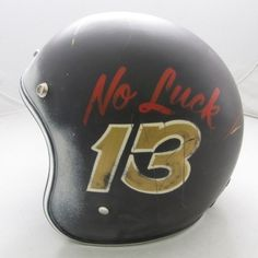 Typeverything.com No Luck 13 helmet. (via... - Typeverything #black #lettering #hand #matte