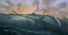 Douglas Henderson #silhoutte #ocean #plesiosaur #water #pterodactyl #wave #flying #dinosaur