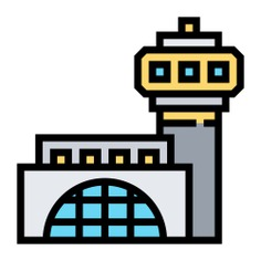 See more icon inspiration related to airport, flight, travel, tower control, airfield, architecture and city, transportation, architecture, building and terminal on Flaticon.