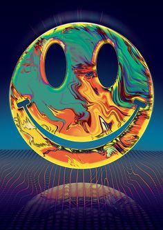 Vasya Kolotusha poster #poster #acid #textile #mesh #smile