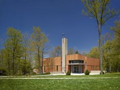 Chapel With Redwood Cladding at the Catholic Campus Ministry in Dayton, Ohio #architecture