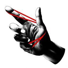 ゴム鉄砲 #illustration #hand #bw
