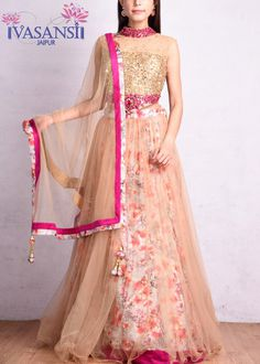 Vasansi Beige Sequins Crop Set Lehenga