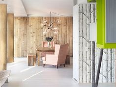 Birch wall decor in living area