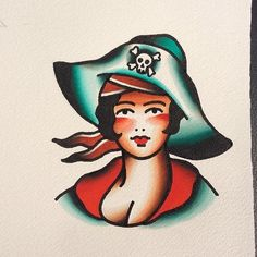 artedejorge: Starting a split with my brother @marcosortegatattoo pirate girl available for tattoo #classictattoos #oldschooltattoos #oldsc
