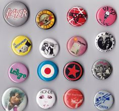 What's left of a once vast Rock n' Roll button collection. 32 pieces of flair.