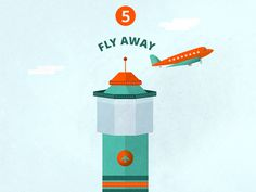 F L Y A W A Y icon 2 #sky #travel #icons #texture #illustration #plane #fly #airport