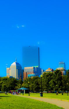 Photography #urban #boston #common #city #color #park #gardens #saturated #poster #blue #buildings
