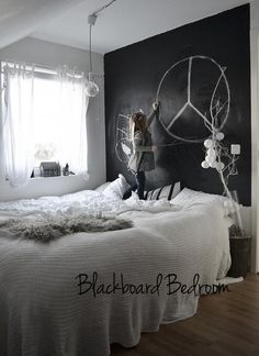 (via chalkboard paint wall in bedroom | the style files)