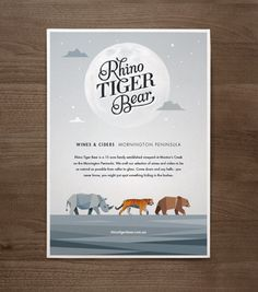 Rhino Tiger Bear on Branding Served Served #print #poster
