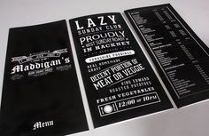 Maddigans Freehouse Identity #print #design #graphic #menu #black #restaurant #bar #layout #pub #typography