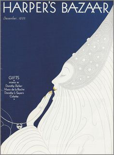 Harpers Bazaar 1932 December #illustration #fashion #blue #bazaar #erte