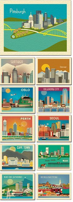 City skyline illustrations by Loose Petals