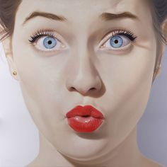 Hubert de Lartigue | artnau #red #girl #design #lips #illustration #portrait #art #painting #face #sex #lipstick
