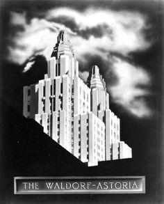 Waldorf-Astoria Art Deco Poster #white #black #waldorf-astoria #vintage #poster #and #deco