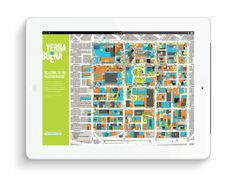 Le quartier Yerba Buena de San Francisco | Phileman Agence de communication et de design Nantes / Lorient #carte #birdeye #apps #ipad #mappa #design #graphic #map #wayfinding #road #digital #illustration #tablet #street