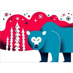 FFFFOUND! | Postikortti karhu #polar #pink #snow #illustration #blue #bear